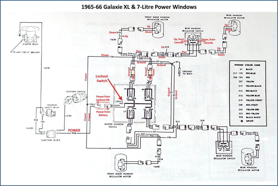 power window conversion - 1966 thunderbird switches in 1966 galaxie | ford  muscle cars tech forum  ford muscle forums