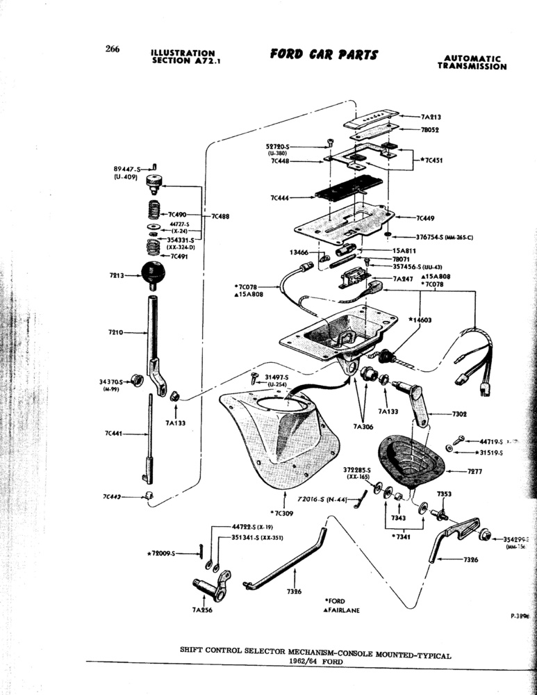 62-64 Galaxie Shifter  Exploded Diagram