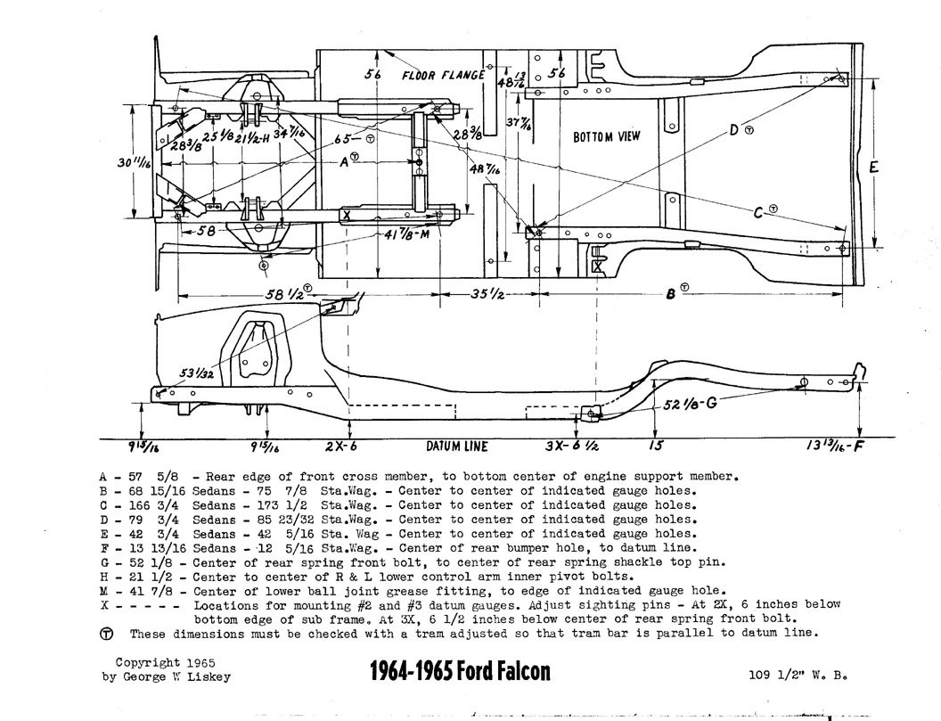 Measurement Needed From 64 65 Falcon Ford Muscle Forums 1960 Lincoln Wiring Diagram Click Image For Larger Version Name 65falconframe Views 980 Size
