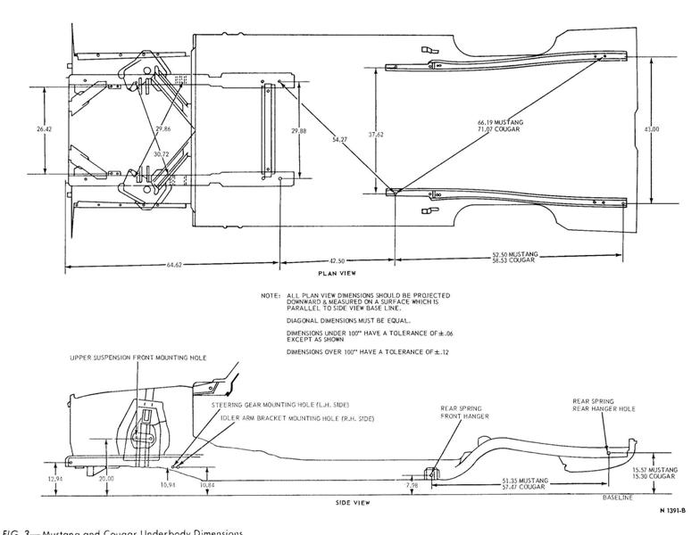 mustang underbody dimensions  long