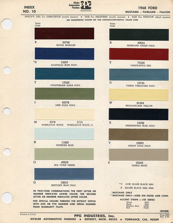 68 Fairlane Paint Code Help Needed Ford Muscle Forums
