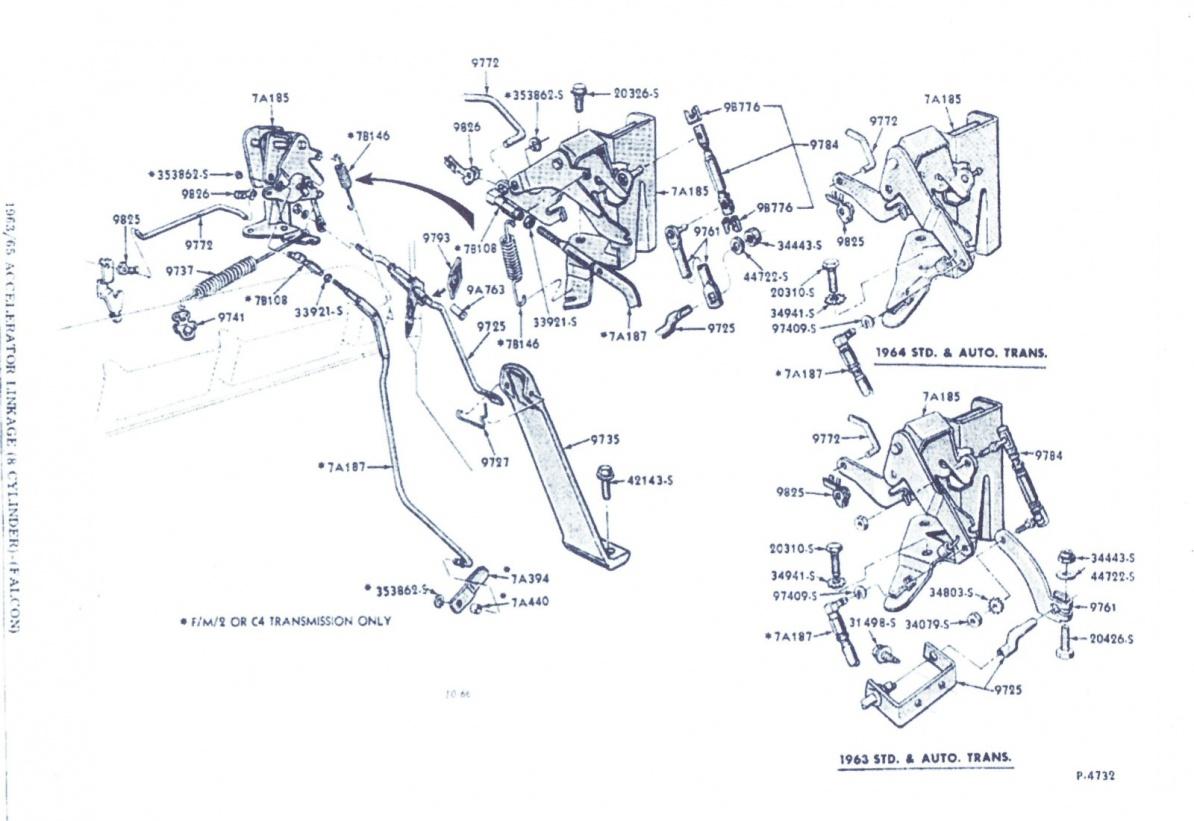 1965 Falcon Trans Kickdown Linkage